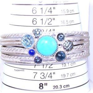 Judith Ripka Turquoise+Gems Cuff Silver Bracelet